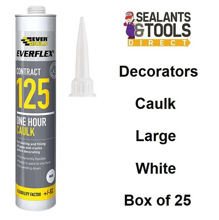Everbuild 125 White Decorators Caulk Large C4 Box of 25 OHCC425