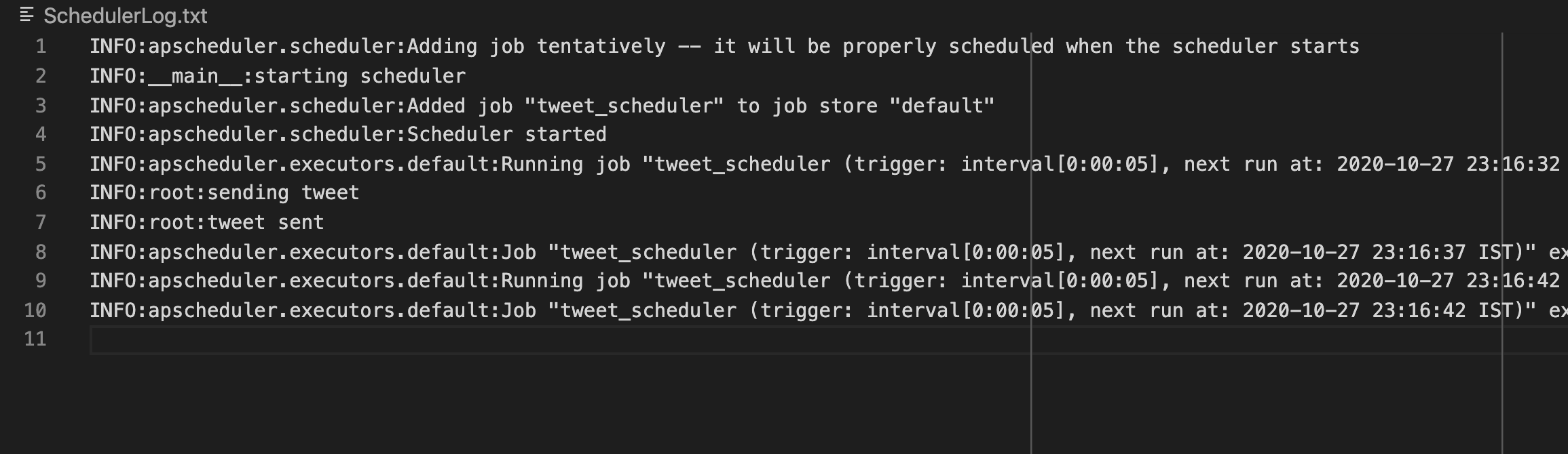 App scheduler logs