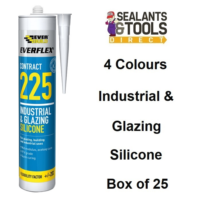 Everbuild 225 Industrial and Glazing Silicone Box of 25