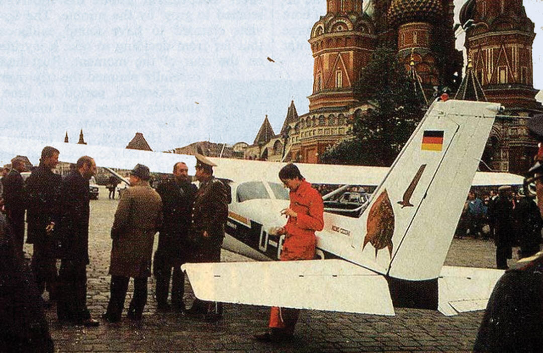 A German sports plane, untouched by Soviet air defense, landed on Red Square in Moscow