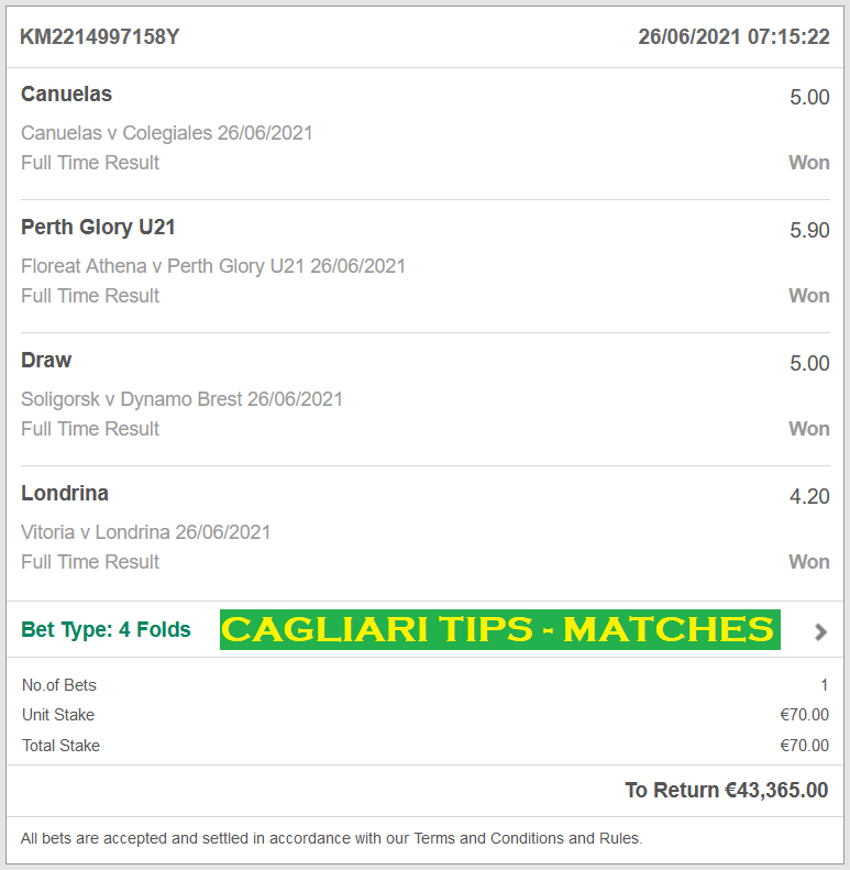 Official VIP TICKET Fixed Matches for CAGLIARI TIPS FIXED MATCHES