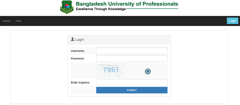 BUP Admit Card