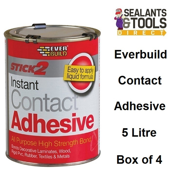 Everbuild Stick 2 Instant Contact Adhesive 5 Litre Box of 4