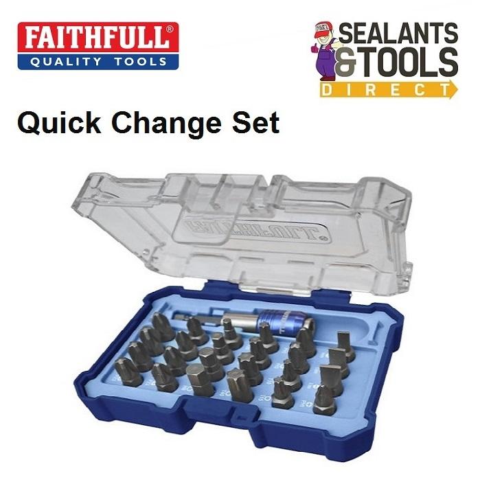 Faithfull Screwdriver Quick Change Holder & Bits XMS18QCBIT25