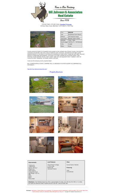 25.555 acres with amenities I have For Sale in Bellville, TX (8 miles from town).Real Estate Information is shown.