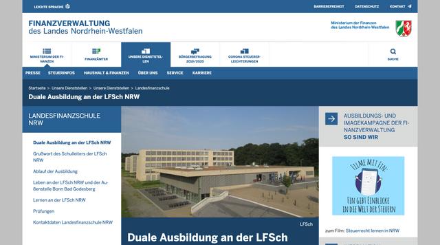 Webseite www.finanzverwaltung.nrw.de