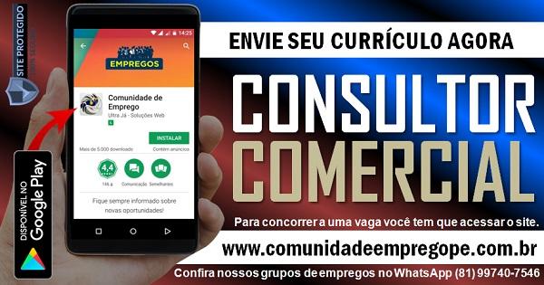 CONSULTORA COMERCIAL COM SALÁRIO DE R$ 1700,00 PARA EMPRESA EM JABOATÃO DOS GUARARAPES