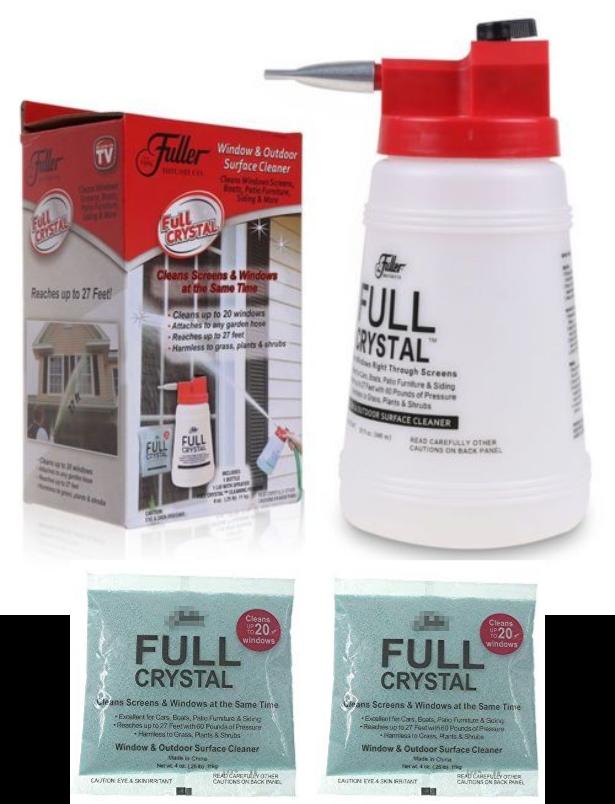 Fuller Brush Full Crystal Window Cleaner Bottle 8 Oz