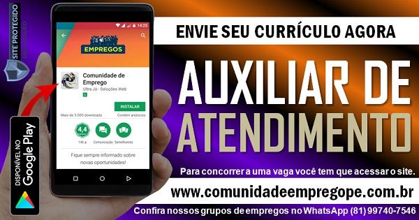 AUXILIAR DE ATENDIMENTO COM SALÁRIO R$ 1124,73 PARA PESSOA COM DEFICIÊNCIA