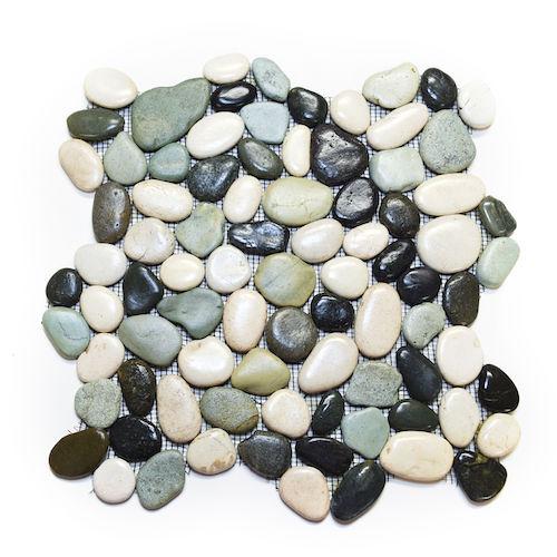 Glazed Maui (Green & Grey) Pebble Stone Tile - River Rock