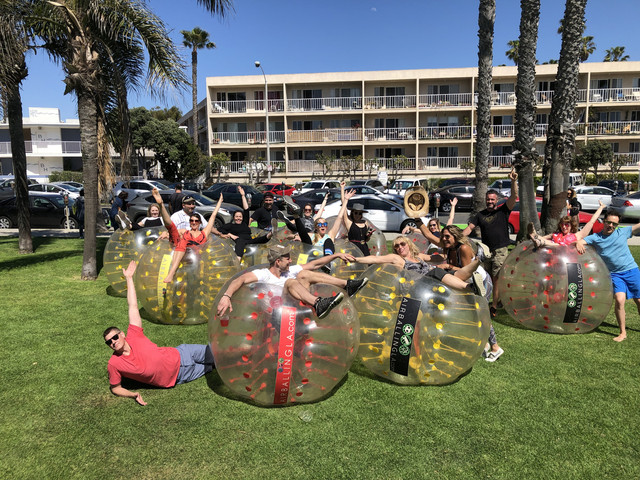 Group Photo of our clients who utilized our Bubble Soccer Rental in Santa Monica.