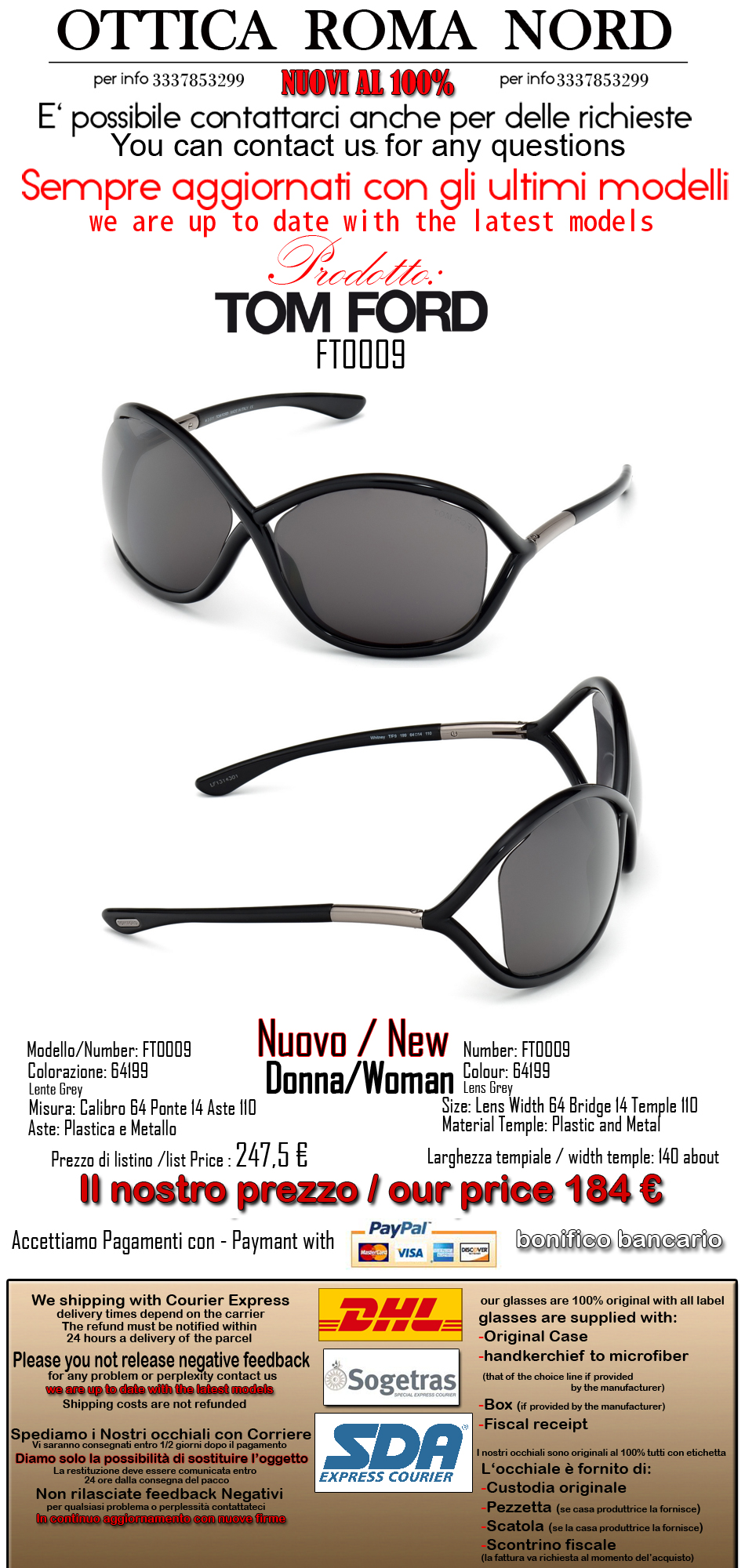 72120546ec TOM FORD FT 0009 WHITNEY 199 NEW COLLECTION SUNGLASSES SUNGLASSES ...