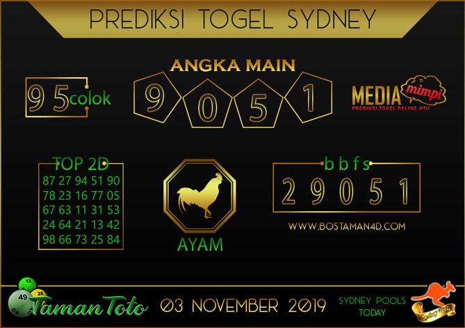 Prediksi Togel SYDNEY TAMAN TOTO 03 NOVEMBER 2019