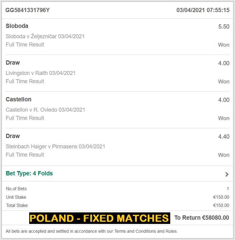 POLAND FIXED | POLAND VIP TICKET FOR 03/04/2021| FOUR FIXED MATCHES
