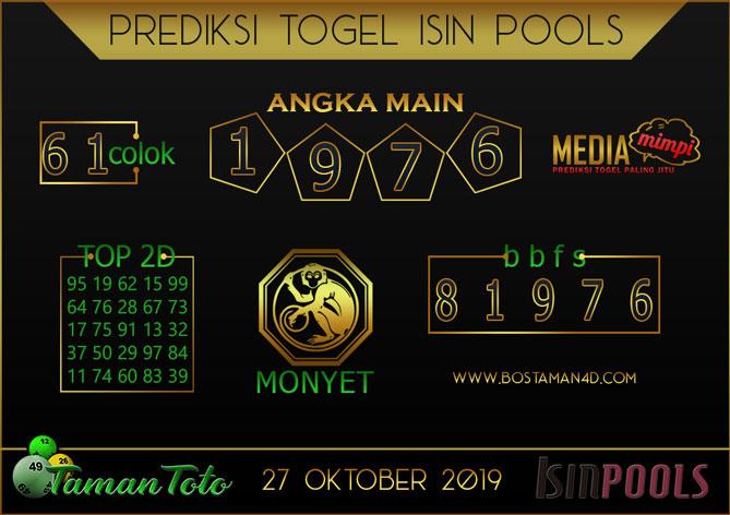 Prediksi Togel ISIN TAMAN TOTO 27 OKTOBER 2019