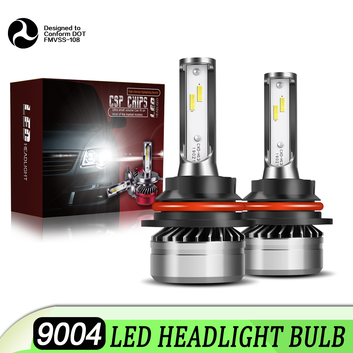 9004 HB1 LED Headlight Bulbs Xenon Hi/Lo Beam DOT Approved White ...