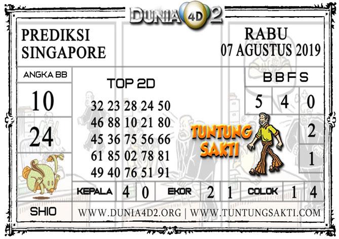"""Prediksi Togel """"SINGAPORE"""" DUNIA4D2 07 AGUSTUS 2019"""