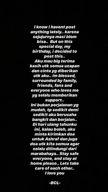 Unggahan Insta Story Bunga Citra Lestari pada hari ulang tahunnya, Sabtu (22/3/2020).