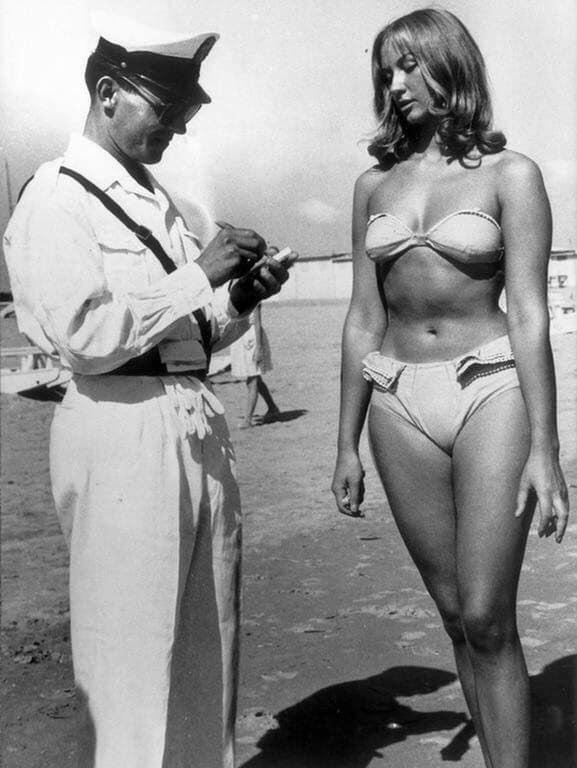 Vintage Photo of Italian Cop Issuing Ticket to Woman for Wearing Bikini on Beach