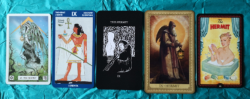 An image of the Hermit card from a range of tarot decks.