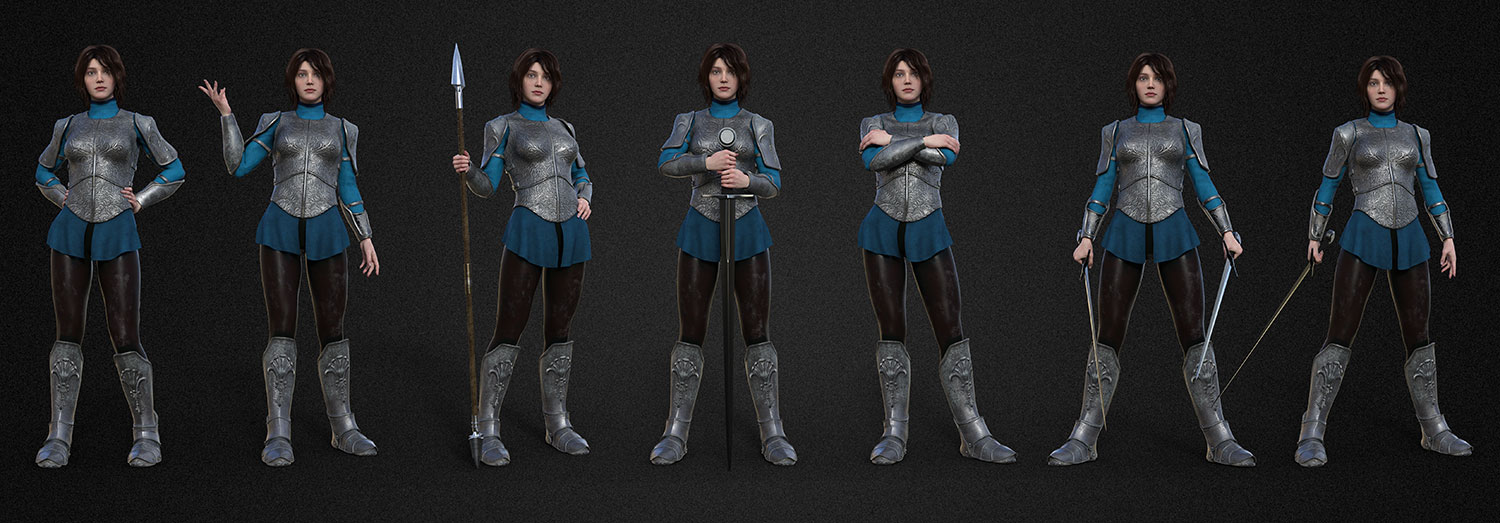 f CG medieval warrior maiden character lineup