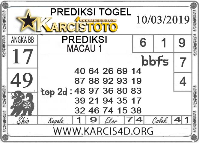 Prediksi Togel MACAU 1 KARCISTOTO 10 MARET 2019
