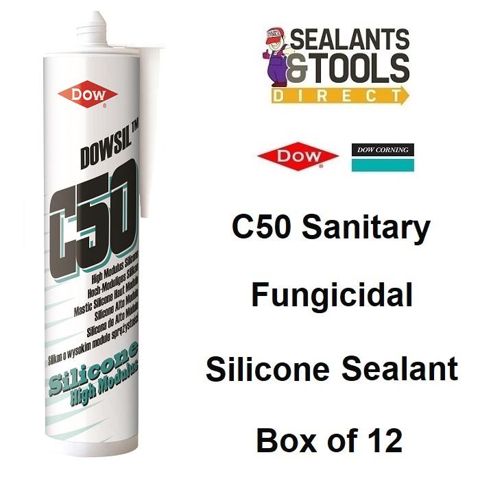Dow Corning Dowsil C50 HM Bathroom Silicone Sealant White Clear Box 12