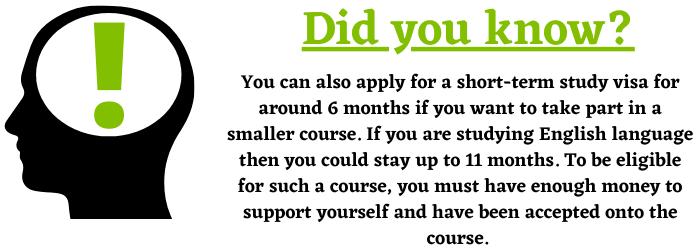 Short-term study visas
