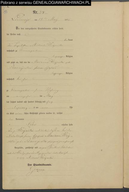Akt urodzenia Piotra 1875
