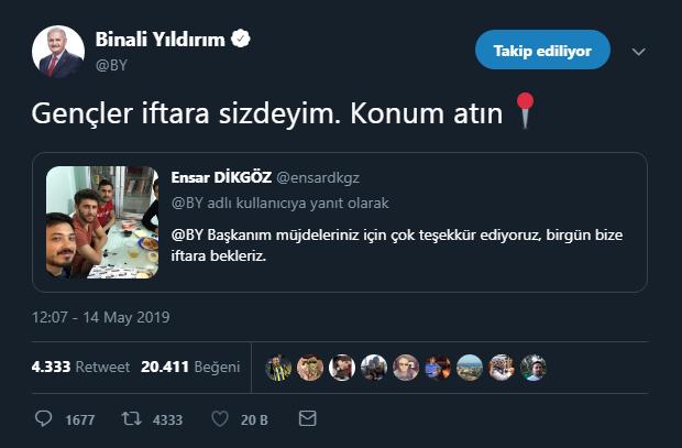 Binali Yıldırım tweet