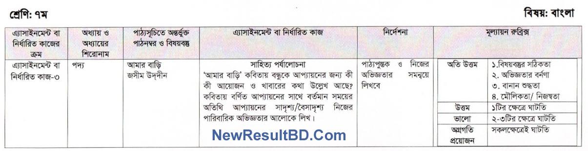 Bangla 9th Week Assignment Of Class 7
