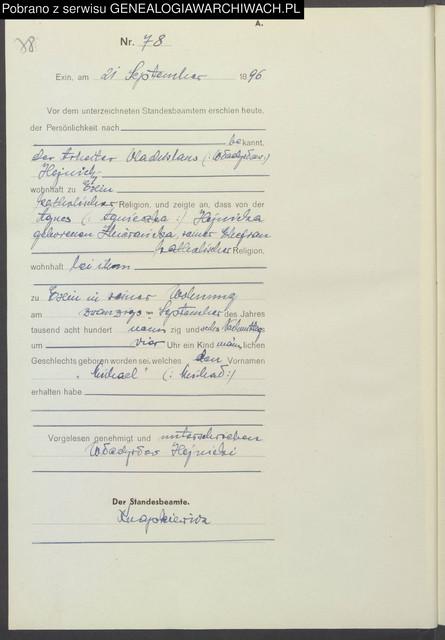 1896 wrze 21 Kcynia USC Micha Hejnicki poz 78 niem