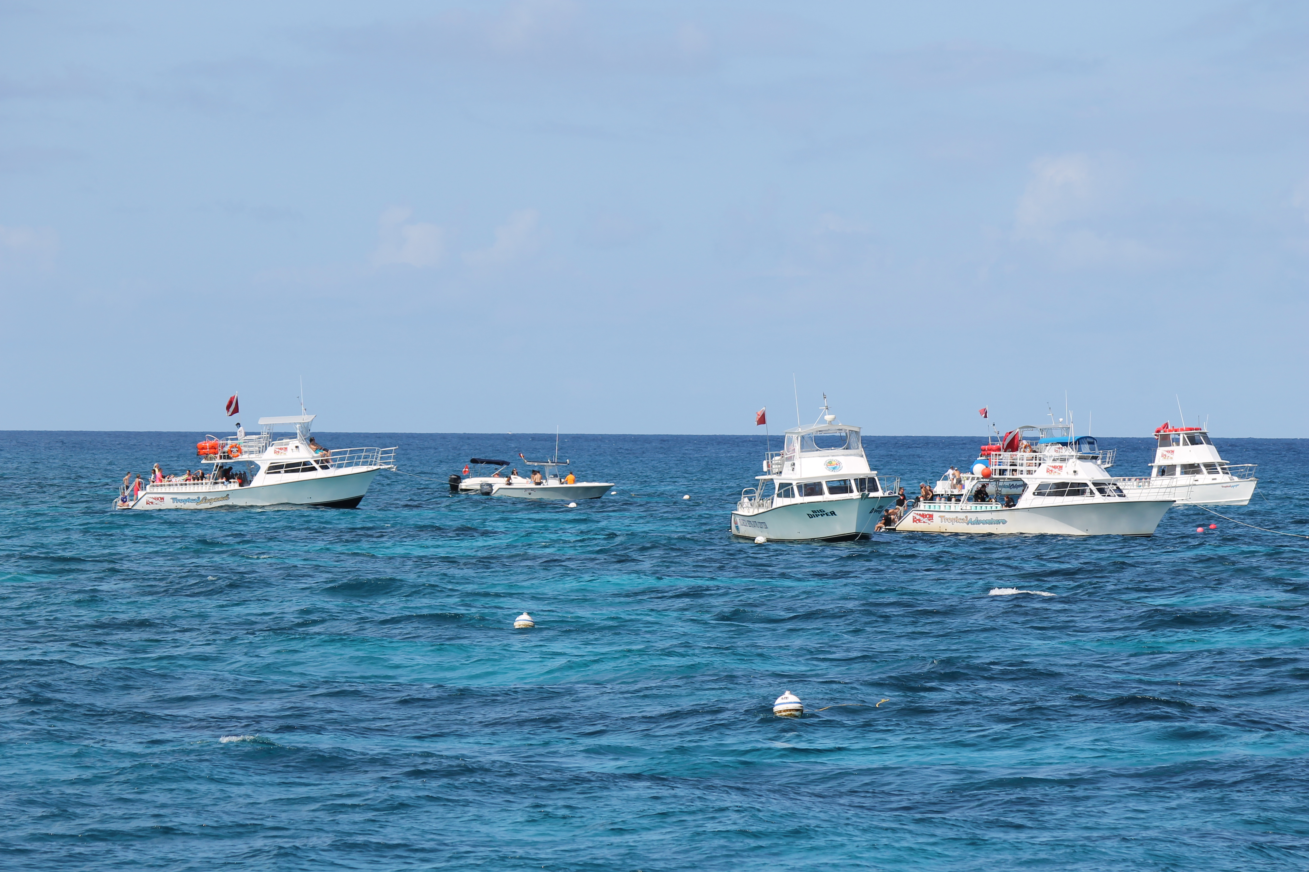 Boats at John Pennekamp Coral Reef State Park in Key Largo, Florida