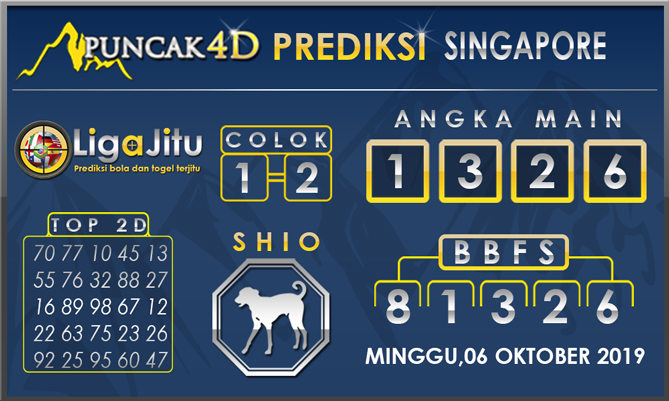 PREDIKSI TOGEL SINGAPORE PUNCAK4D 06 OKTOBER 2019