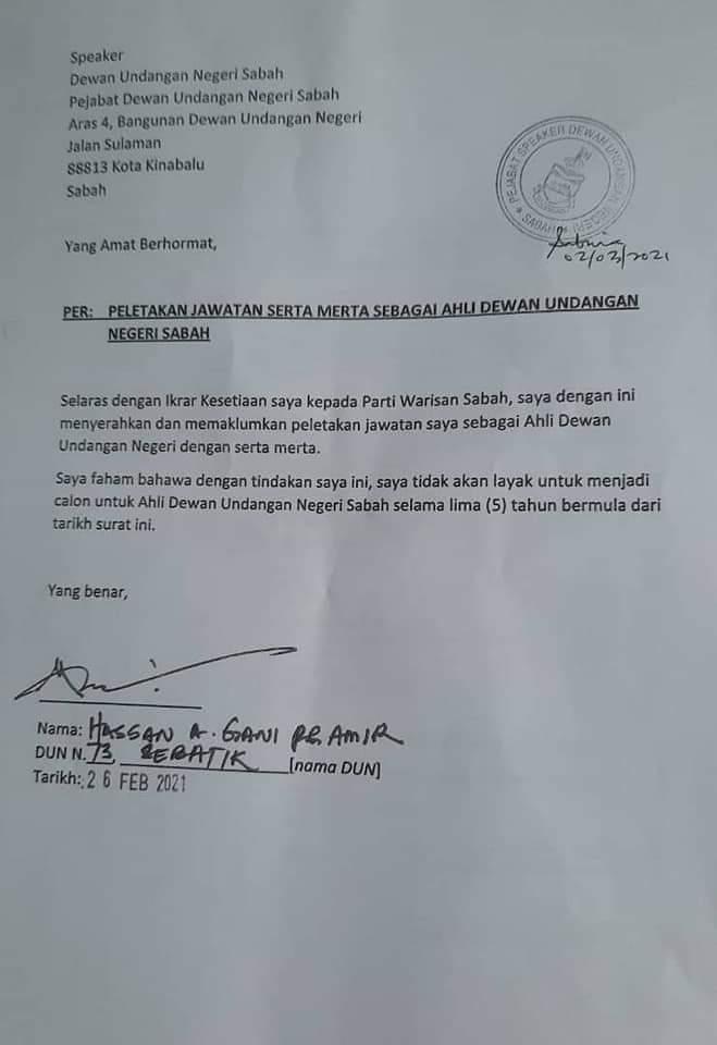 Sabah speaker rules Sebatik rep's pre-signed quit letter invalid