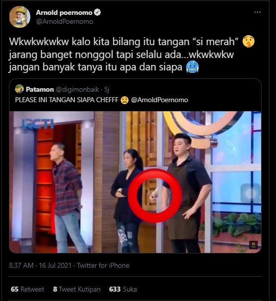 Tanggapan Chef Arnold soal kemunculan tangan misterius di Galeri MasterChef Indonesia Season 8