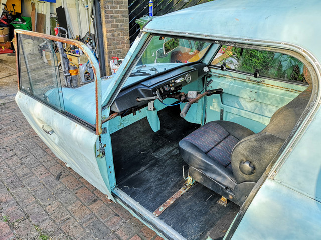 Despite my best efforts to remove all the crud from the heater ducting, the first time I actually took the car out it barfed finely atomised bits of rust all over the interior.  Time to get the vacuum cleaner out.  Doesn't scrub up too bad really.