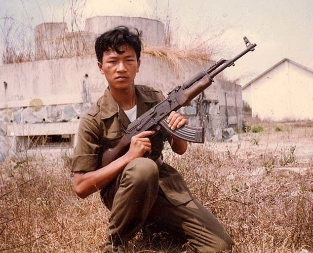 Vietnamese soldier with AK 47 assault rifle