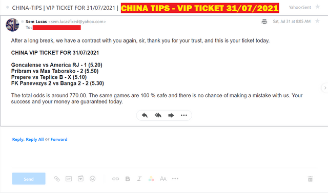 CHINA VIP TICKET FOR 31/07/2021 | FOUR COMBINED CHINA FIXED MATCHES