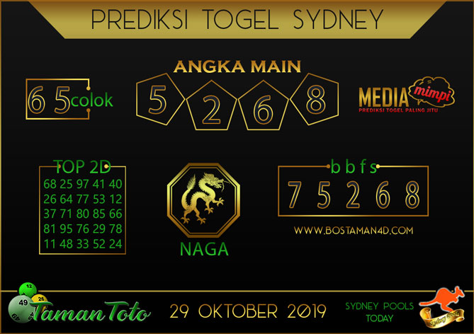 Prediksi Togel SYDNEY TAMAN TOTO 29 OKTOBER 2019