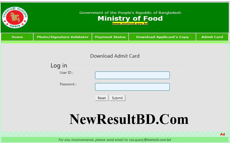 Mofood Admit Card 2020