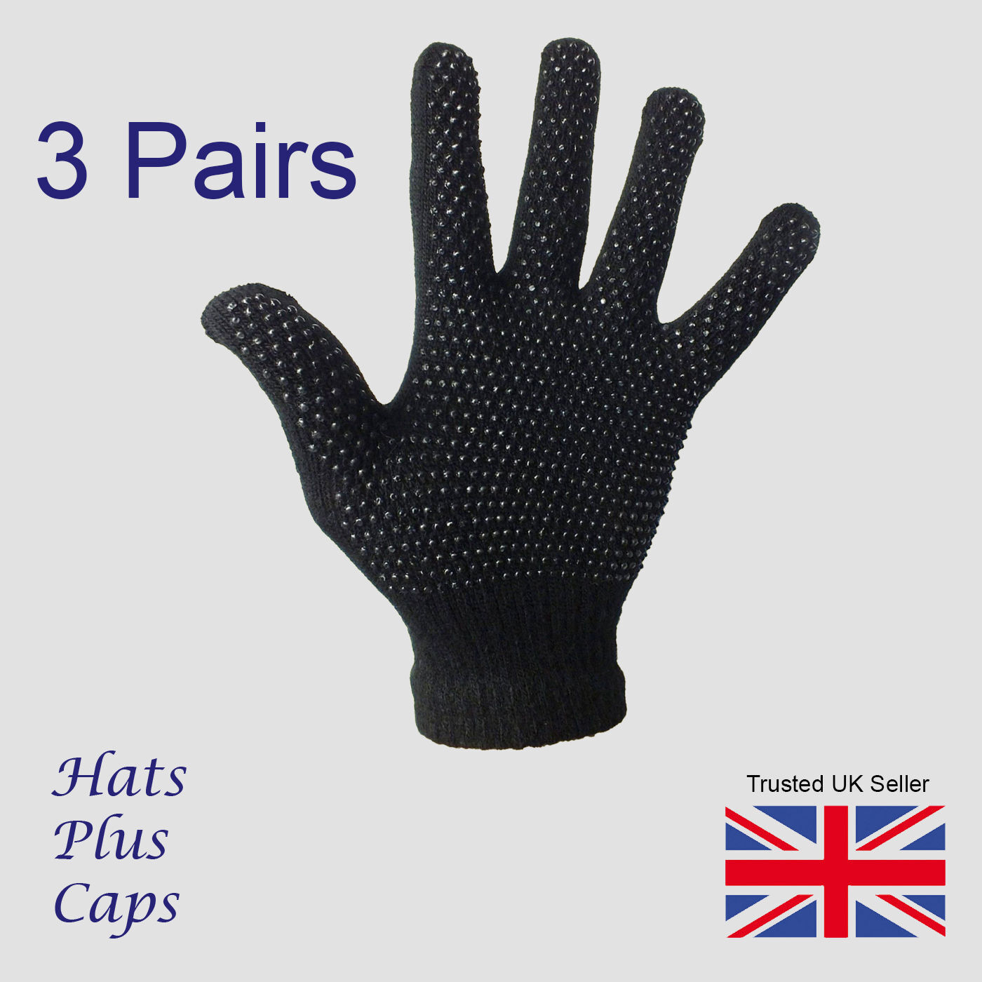 Black Gripper Gloves thermal stretch magic driving gloves winter warm 3 Pairs