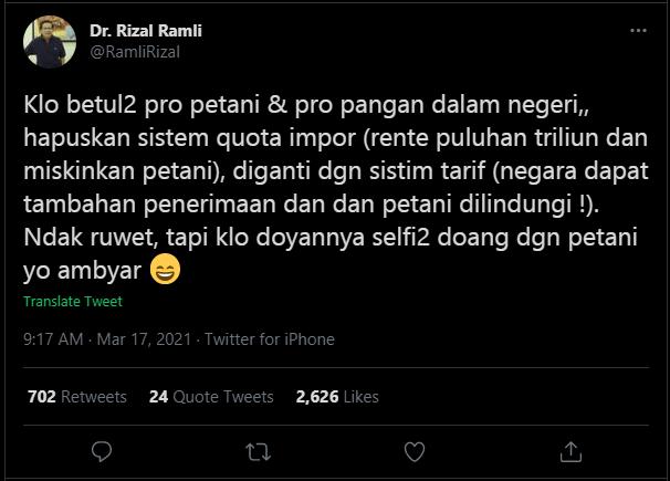 Tanggapan Rizal Ramli mengenai rencana impor beras 1 juta ton melalui cuitannya.