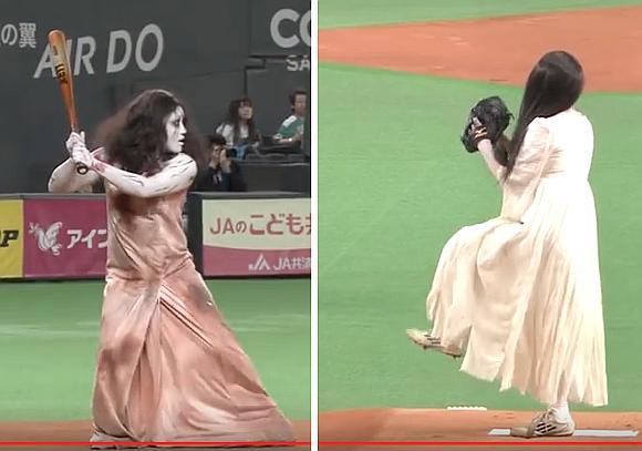 WATCH-The-Rings-Sadako-and-The-Grudges-Kayako-Play-Baseball