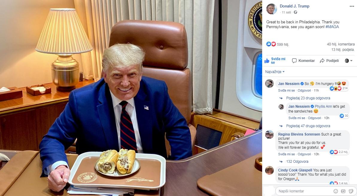 PREDSJEDNIK KOJI LIČI NA SVOJ NAROD! Tramp podijelio fotografiju svog skromnog obroka i oduševio Amerikance: Ljubitelj je 'brze hrane', a dnevno popije 12 limenki dijetalne kole!