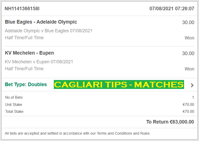 Official DOUBLE HT/FT FIXED MATCHES , CAGLIARI FIXED MATCHES