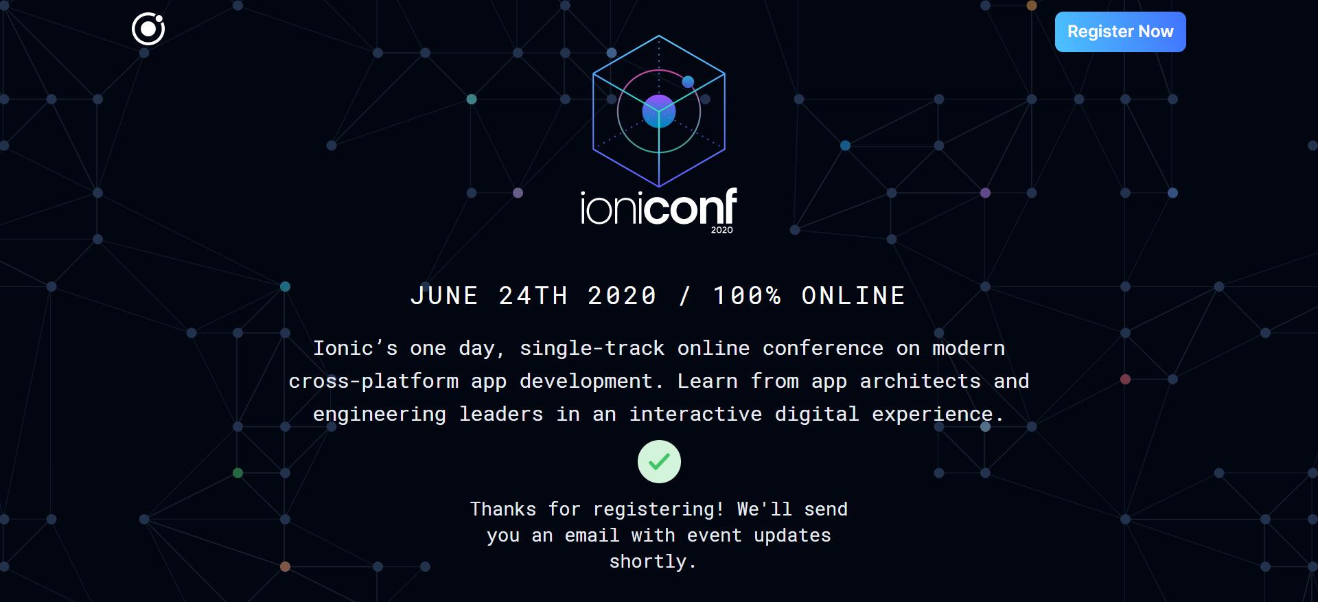 IoniConf 2020, Konferensi Pertama Ionic Framework