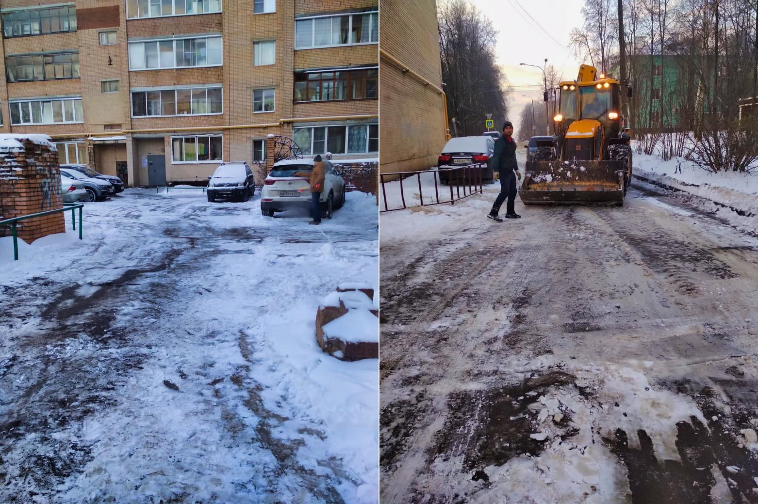 При помощи трактора расчистили проезды во дворах на Пионерской, Спортивной, Комсомольской и проспекте Испытателей
