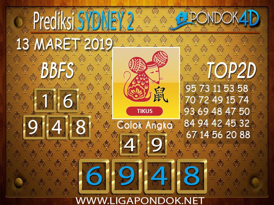 Prediksi Togel SYDNEY 2  PONDOK4D 13 MARET 2019