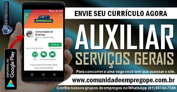 AUXILIAR DE SERVIÇOS GERAIS COM SALÁRIO R$ 1045,00 PARA EMPRESA HOSPITALAR